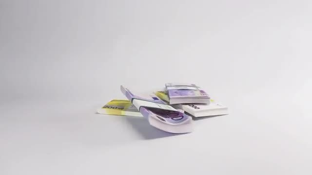 Stacks Of Euro Bills Dropped: Stock Video