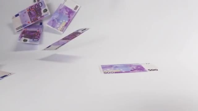 Few Euro Banknotes Landing: Stock Video