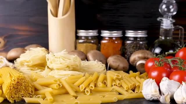 Stockpile Of Raw Food Items: Stock Video