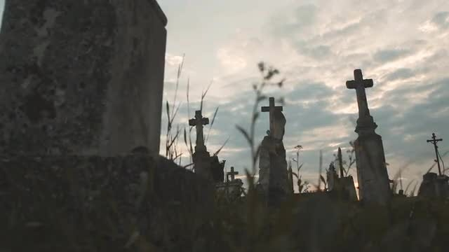 Old Concrete Crosses In Cemetery : Stock Video