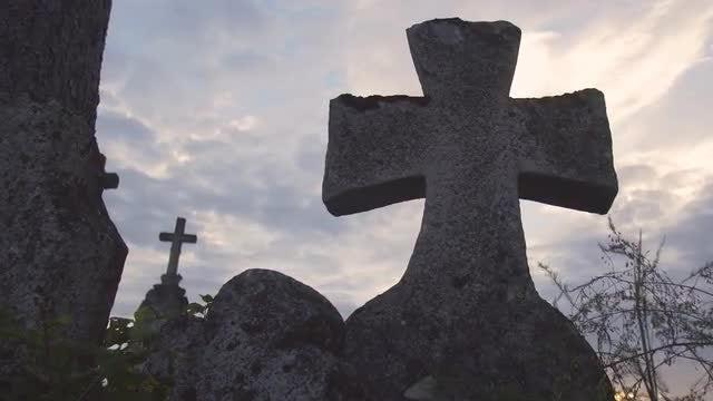 Old  Concrete Crosses In Graveyard: Stock Video