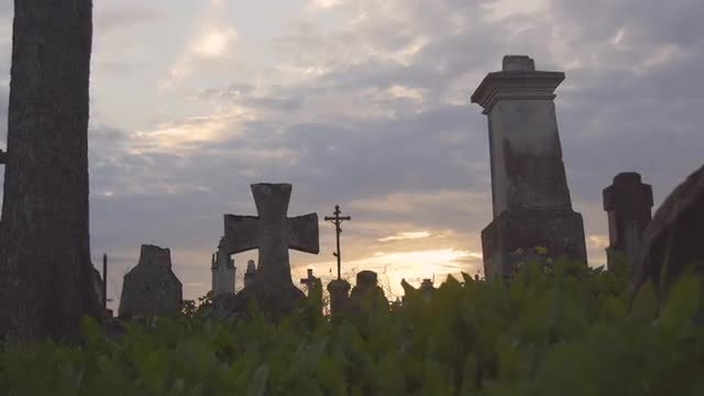 Ancient Crosses In Graveyard: Stock Video