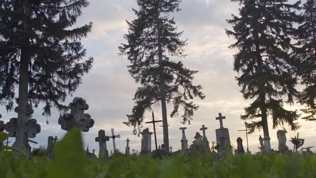 Wide-angle Shot Of Ancient Graveyard: Stock Video