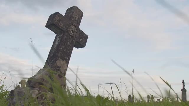Rundown Concrete Cross In Cemetery: Stock Video