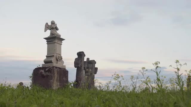 Angel Headstone In Old Cemetery: Stock Video
