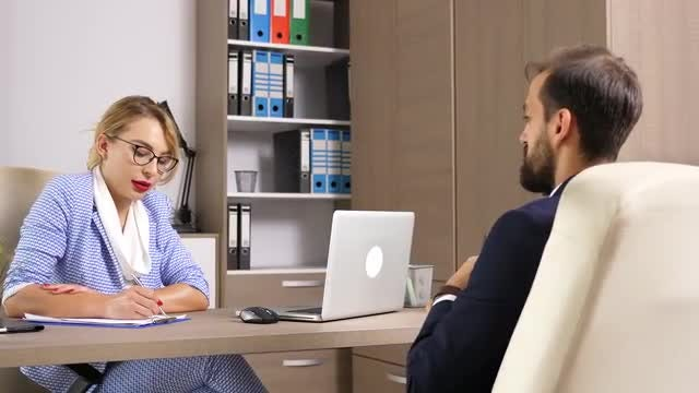 Human Resource Interviewing Male Candidate: Stock Video