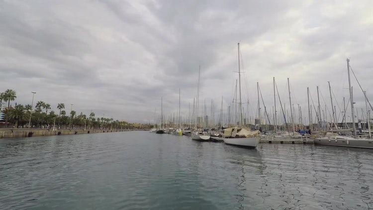 Sailboats Docked At Port: Stock Video