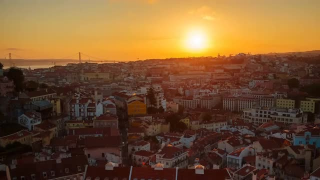 Time Lapse of Sunset In Lisbon: Stock Video
