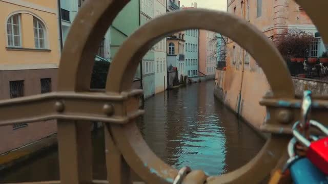Boat On Canal In Prague: Stock Video