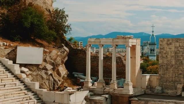 Roman Theater In Eastern Europe: Stock Video