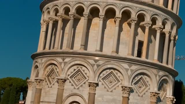Closeup Of The Leaning Tower: Stock Video