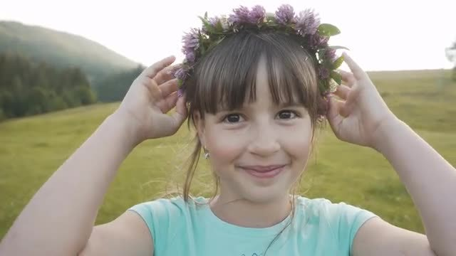 Girl With Flower Crown: Stock Video