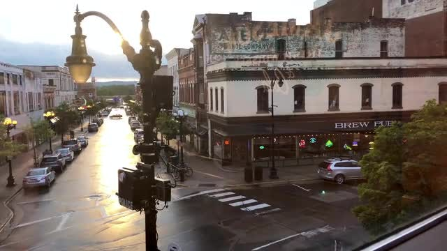 Wide-angle Shot Of Small Town : Stock Video