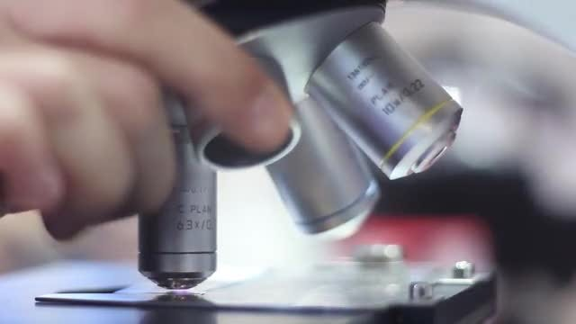 Man Handling Microscope In Laboratory: Stock Video