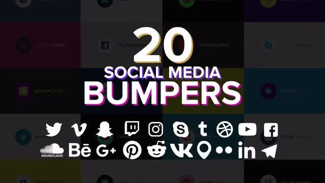 20 Social Media Bumpers: Motion Graphics Templates