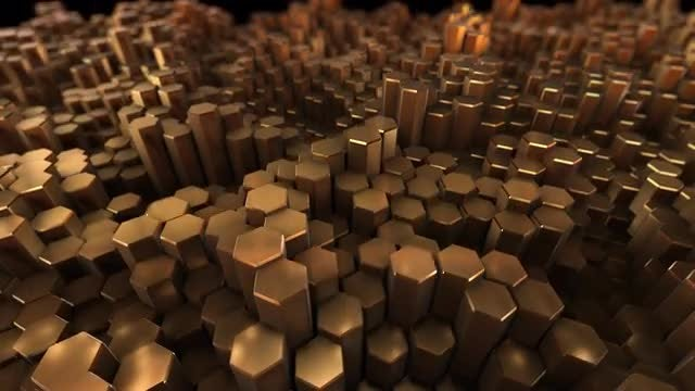 Gold Hexagons Undulating Surface: Stock Motion Graphics