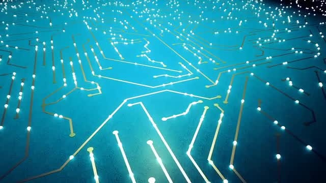 Lit Electronic Chip: Stock Motion Graphics