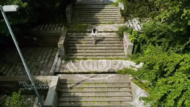 Woman Climbing Monumental Stairs: Stock Video