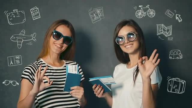 Happy Women With Travel Tickets : Stock Video
