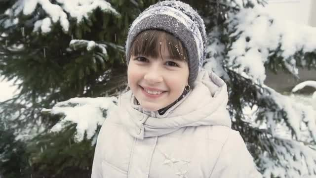 Girl In Winter Forest: Stock Video