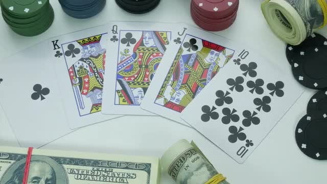 Royal Flush of Clubs: Stock Video