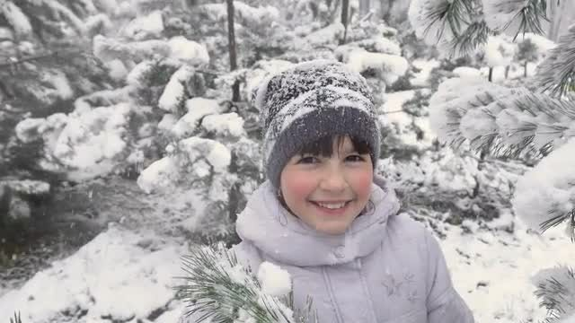 Cute Girl In Snowy Forest: Stock Video
