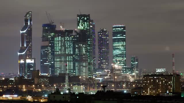 Moscow At Night Time Lapse: Stock Video