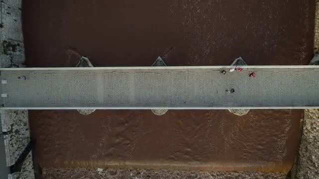 Aerial Panning Off Old Bridge: Stock Video