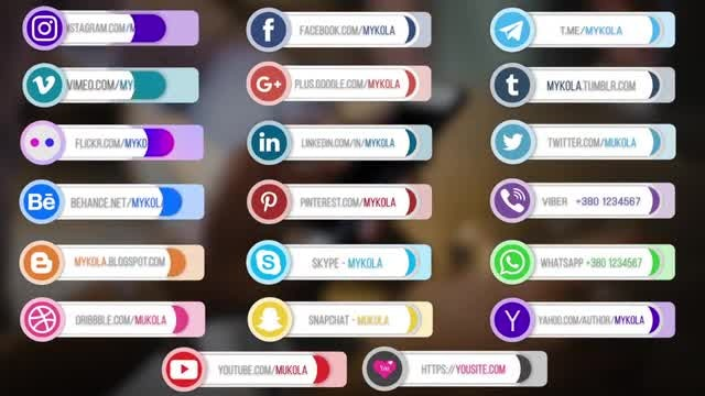 20 Social Media Lower Thirds V.1: After Effects Templates