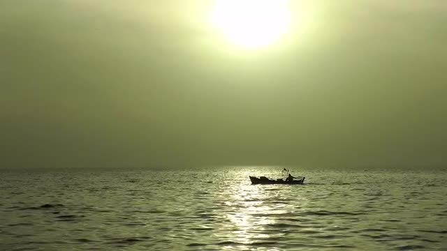 Fishing Boat Sailing On Ocean: Stock Video