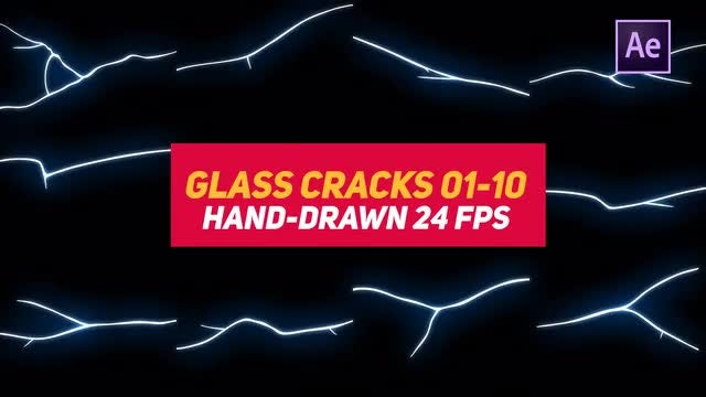 Liquid Elements 3 Glass Cracks 01-10: After Effects Templates