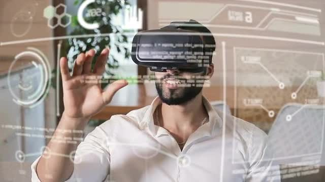 Handsome Man Using VR Headset: Stock Video