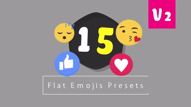 15 Flat Emojis Presets Pack V2: After Effects Presets