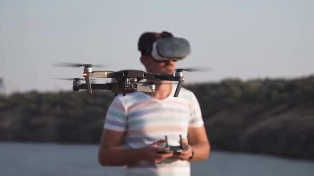 Controlling Drone With VR: Stock Video