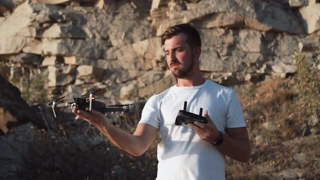 Man Getting Drone: Stock Video