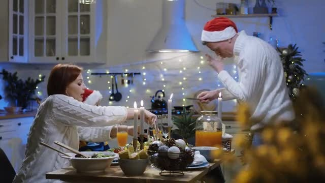 Family Having Christmas Dinner: Stock Video