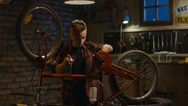 Repairing A Bicycle: Stock Video