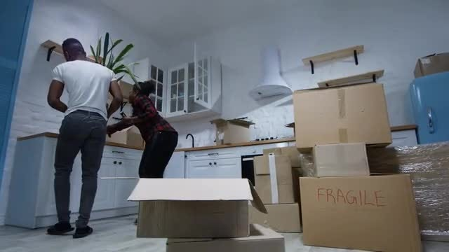 Tired Couple Unpacking: Stock Video