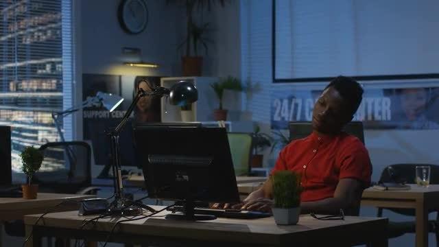 Man Working At Night: Stock Video