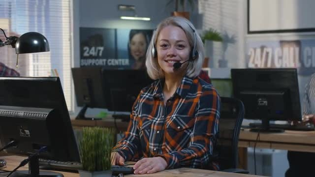 Call Center Worker Portrait: Stock Video