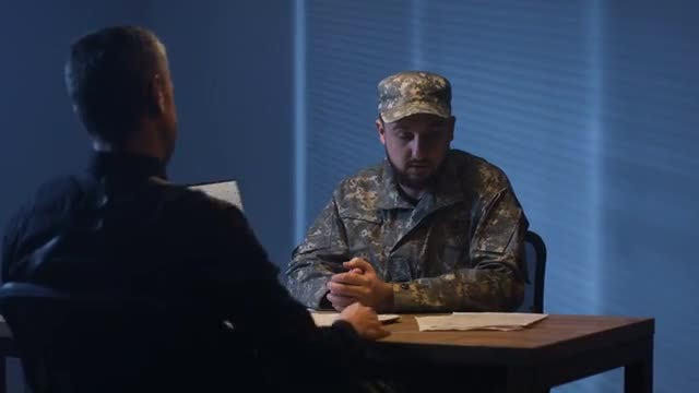 Interrogating A Soldier: Stock Video