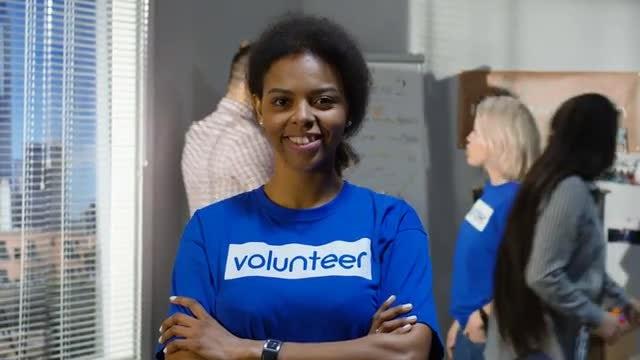Portrait Of Female Volunteer: Stock Video