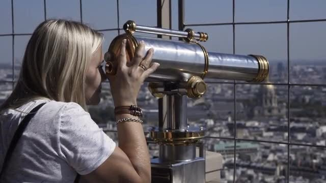 Woman On The Eiffel Tower: Stock Video