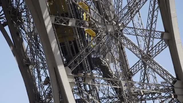 Elevator On The Eiffel Tower: Stock Video