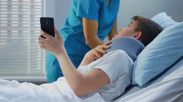 Teen Patient Video Calling: Stock Video