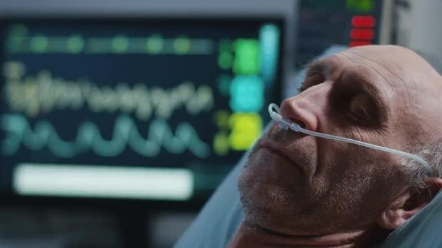 Sleeping Elderly Patient: Stock Video