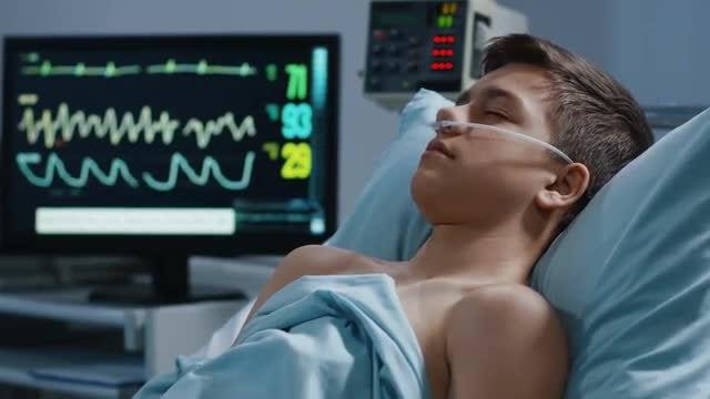 Sleeping Teen Patient: Stock Video