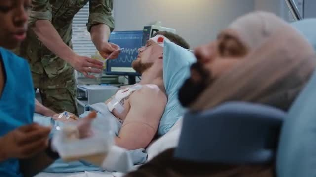 Feeding Injured Soldiers: Stock Video