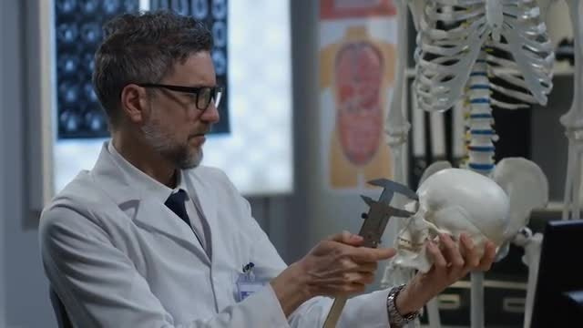 Doctor Checking A Skull: Stock Video