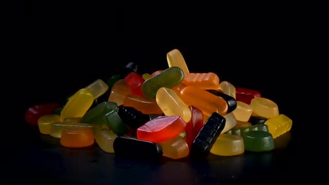 Candy Gums On Rotating Surface: Stock Video